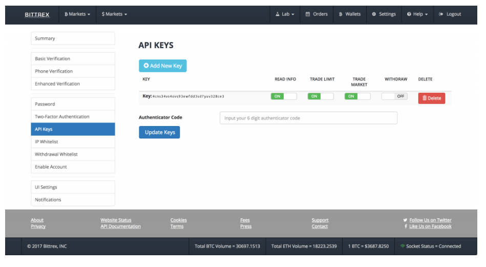 Bittrex review: API keys.