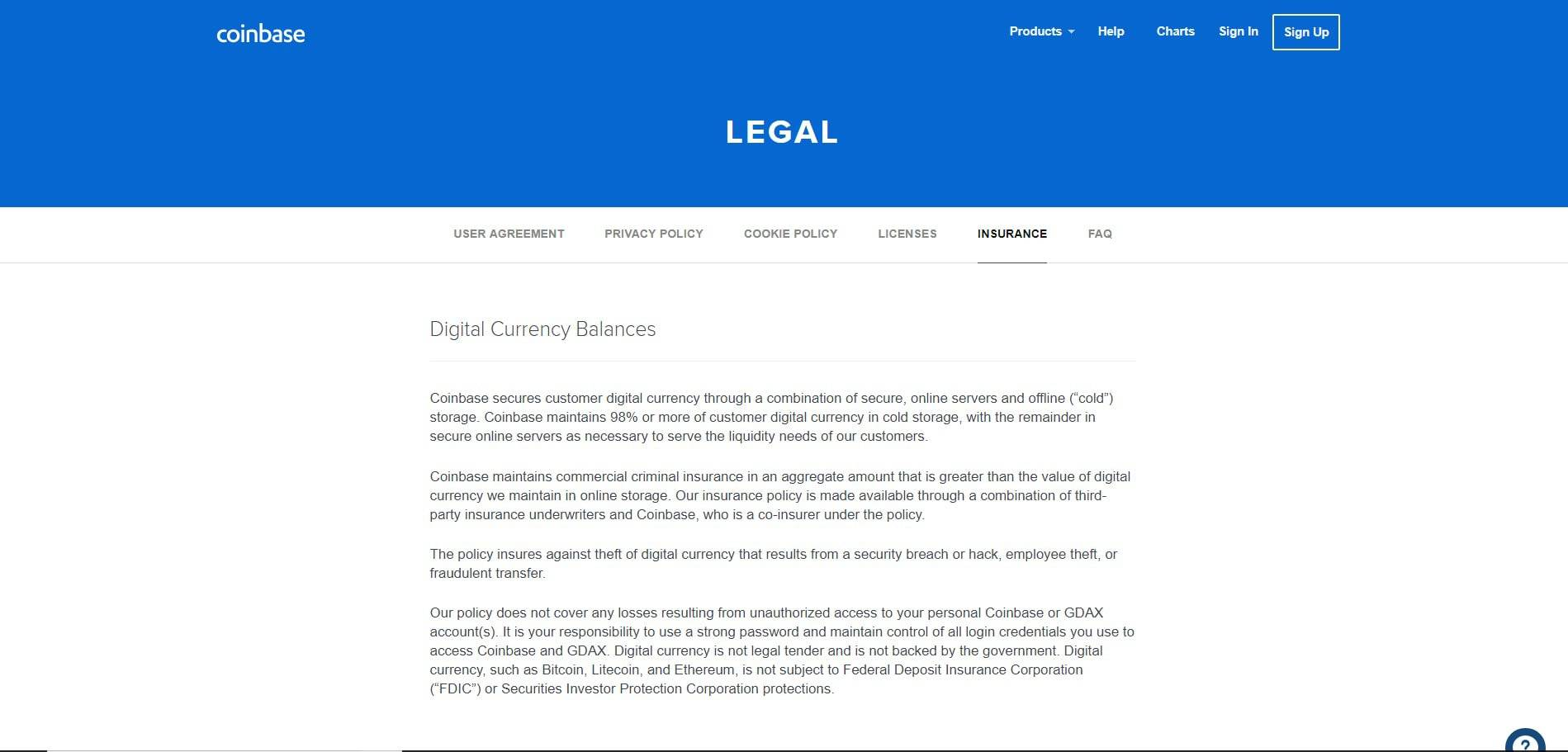 Coinbase review: Coinbase legal page.