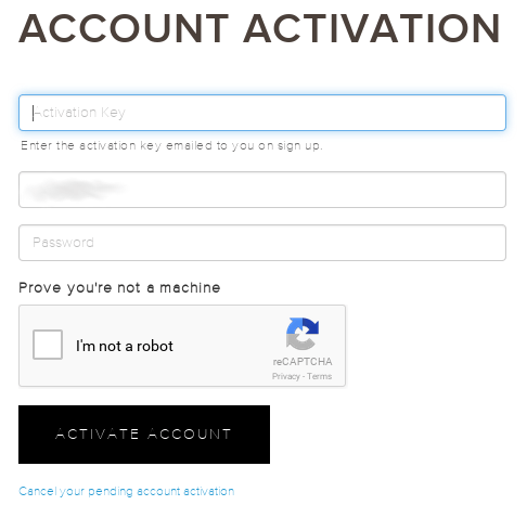 Account activation on Kraken