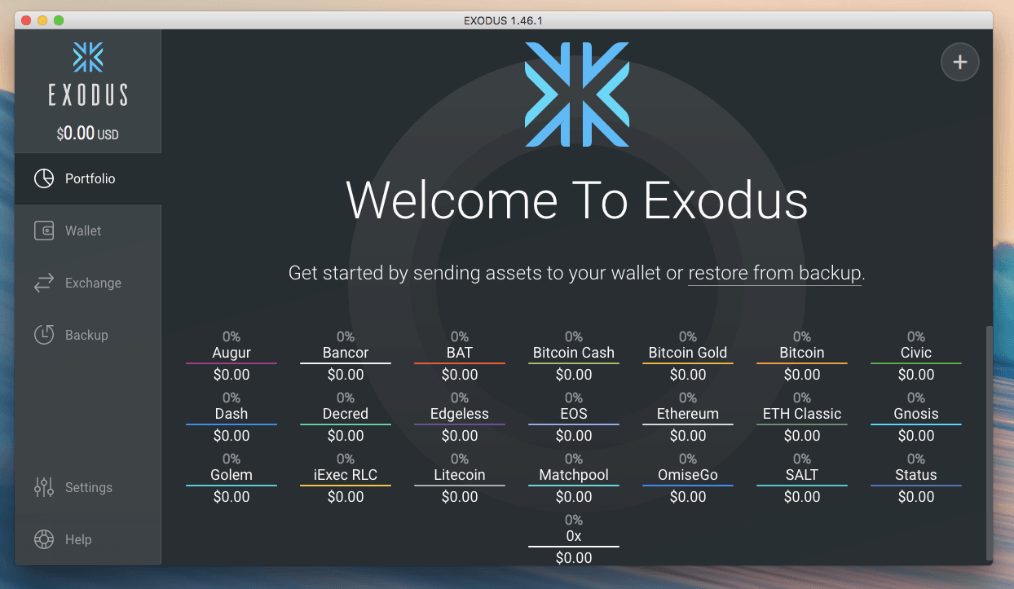 Best Ethereum wallet: Exodus application preview.