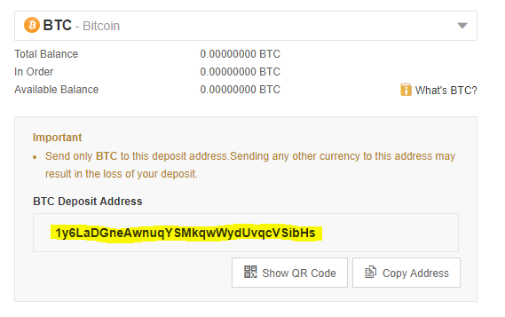 Binance review: a picture of BTC deposit address.
