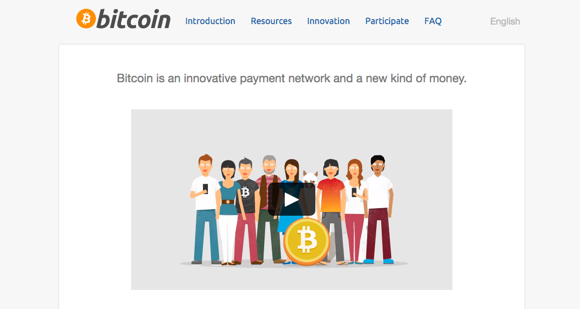 What is a cryptocurrency: Bitcoin cryptocurrency front page.