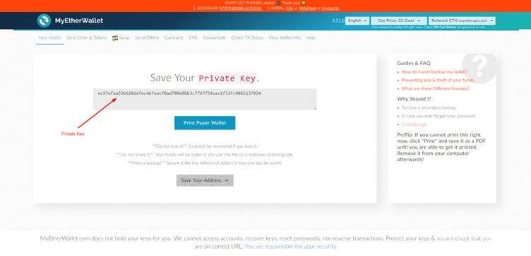 MyEtherWallet Review: saving your private key.