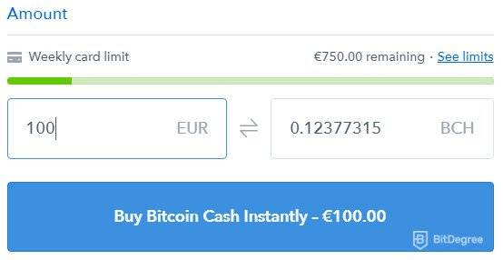 What is Bitcoin Cash: weekly limit of Coinbase account.