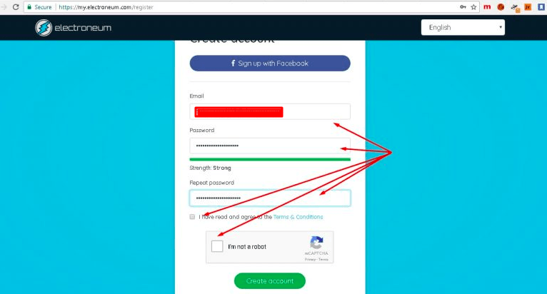 Signing up for Electroneum wallet