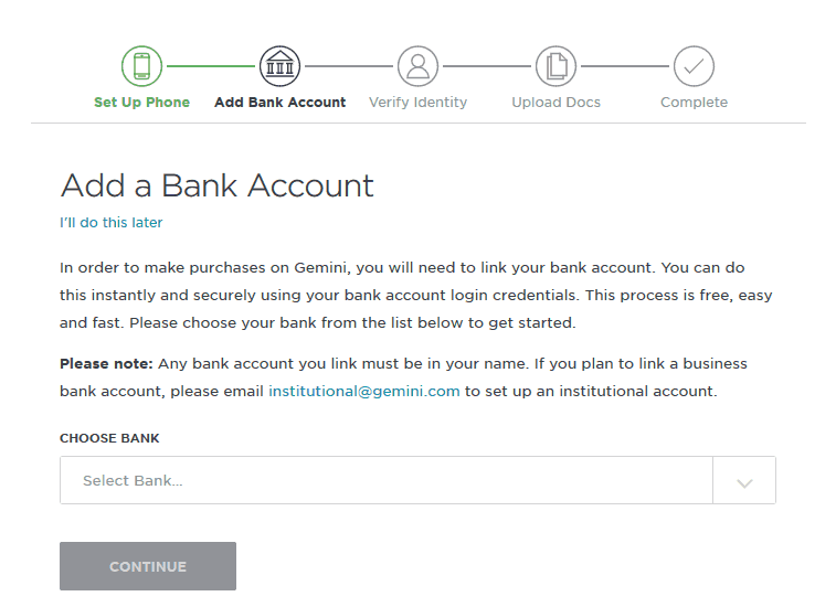 Add a bank account on Gemini Exchange