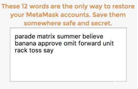 MetaMask wallet review: 12 security words for MetaMask.