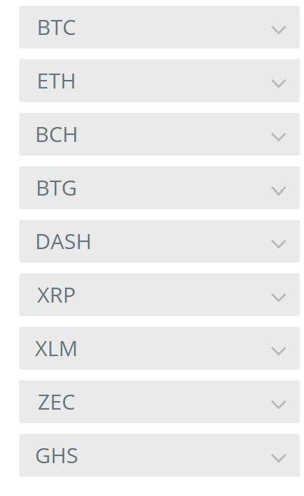 Cryptocurrency list