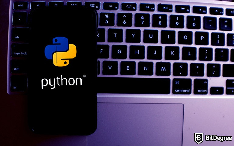 Introduction to programming using Python: Python logo on a phone screen.