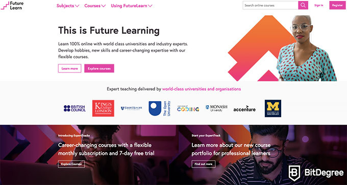 FutureLearn review: front page.