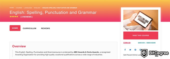 Lead Academy review: English: Spelling, Punctuation and Grammar course.