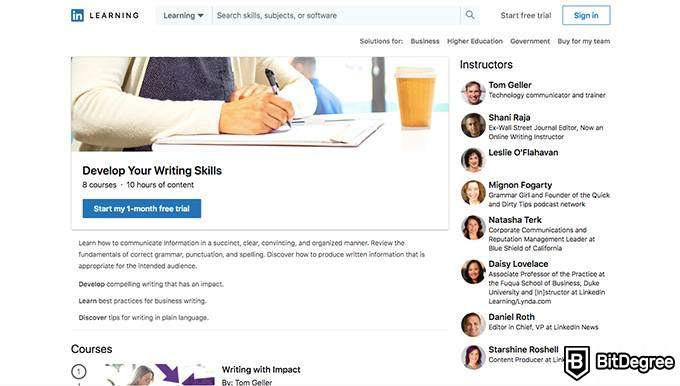 LinkedIn Learning review: an example of a learning path.