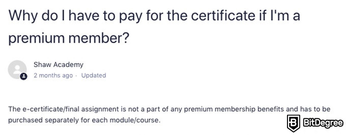 Shaw Academy Reviews: why you need a premium membership to get a certificate