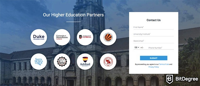 Simplilearn reviews: higher education partners.