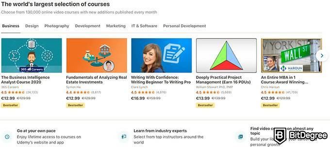 Udemy review: popular courses.