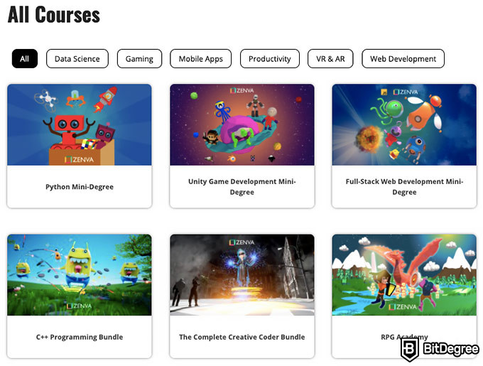 Zenva reviews: all courses.