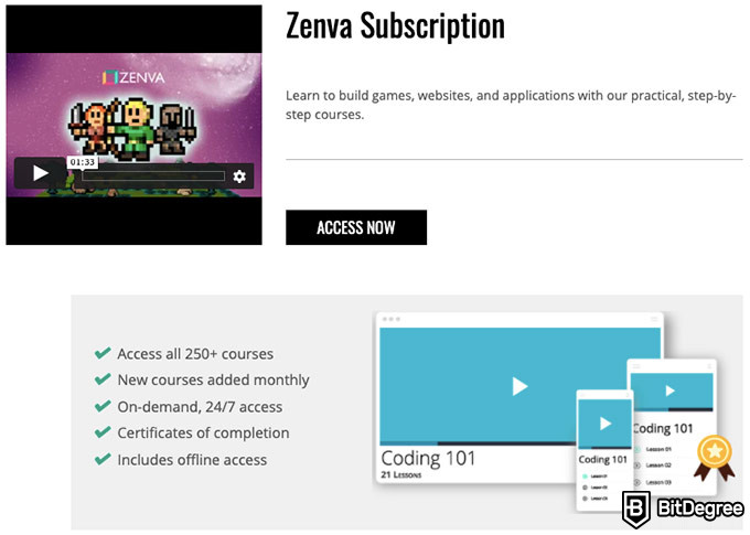 Zenva reviews: access courses.